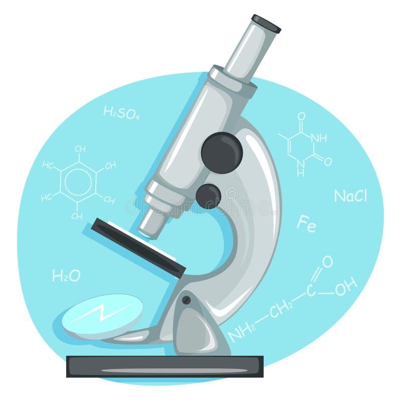 Microscopio del laboratorio ilustración del vector