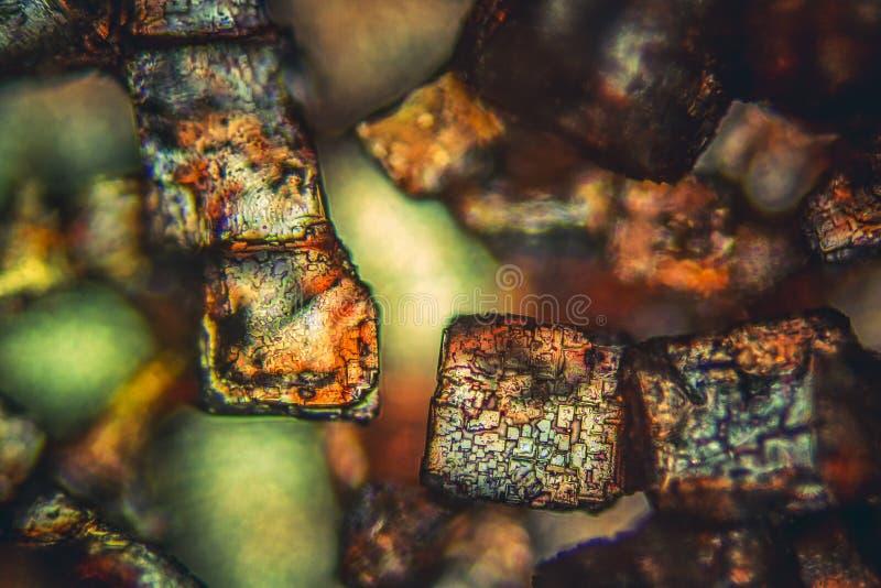 Microscopisch detail van suikerkristallen stock foto's