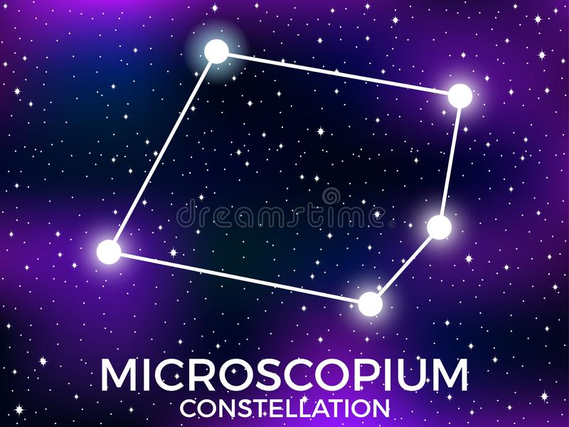 Microscopium constellation. Starry night sky. Cluster of stars and galaxies. Deep space. Vector. Illustration royalty free illustration