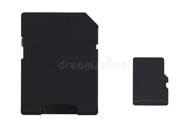 MicroSDkaart met hoogtepunt - de adapter van de groottebr kaart stock afbeeldingen