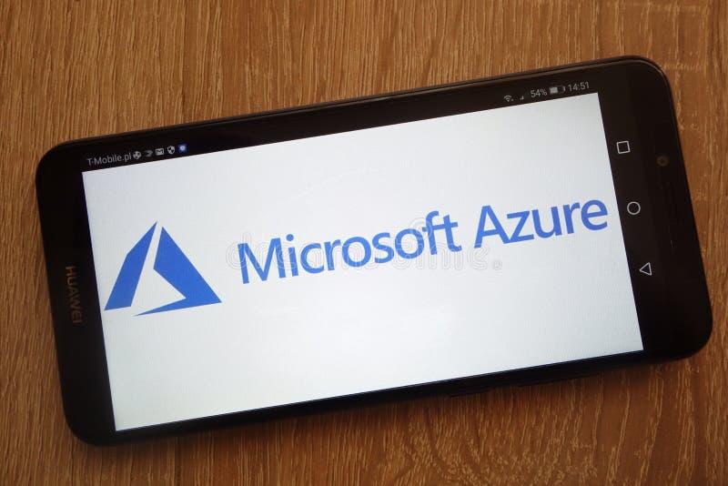 Microsoft Azureembleem op een moderne smartphone wordt getoond die stock foto