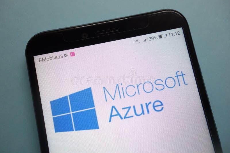 Microsoft Azureembleem op smartphone stock afbeelding