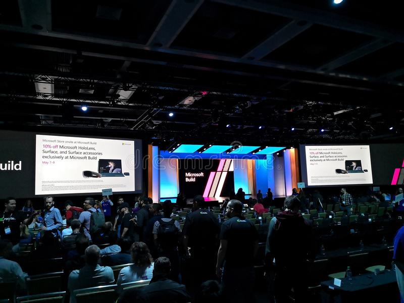 Microsoft-BUILD 2018 conferentie in Seattle stock afbeelding