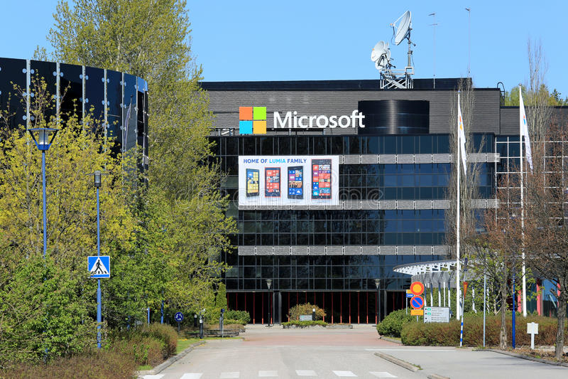 Microsoft Building in Salo, Finland. SALO, FINLAND - MAY 17, 2014: Microsoft signs replace the Nokia signs at the former Nokia buildings in Salo. Former Nokia royalty free stock images