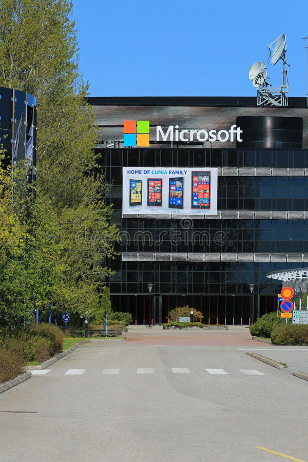 Microsoft Building in Salo, Finland. SALO, FINLAND - MAY 17, 2014: Microsoft signs replace Nokia signs at the former Nokia buildings in Salo. Former Nokia town stock image
