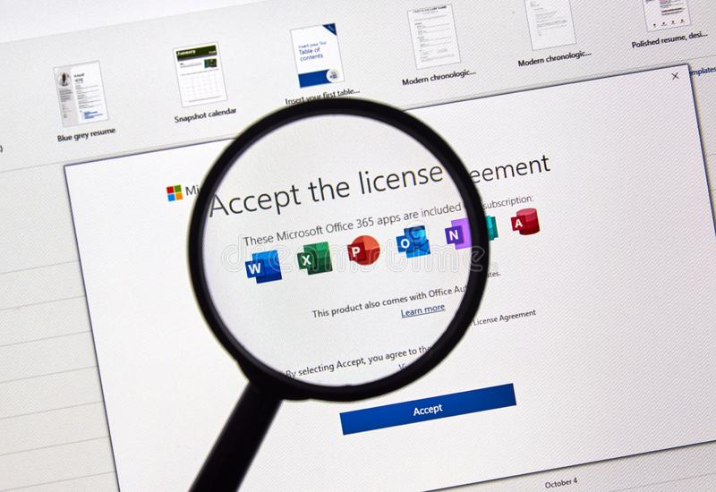 microsoft bureau 365 software stock afbeeldingen