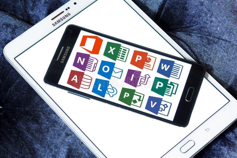 Microsoft-bureaupictogrammen en emblemen stock fotografie