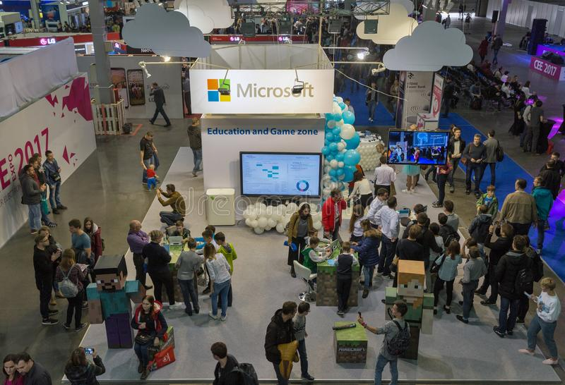 Microsoft-cabine bij EEG 2017 in Kiev, de Oekraïne royalty-vrije stock foto