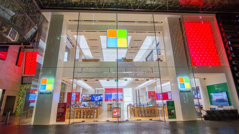 Microsoft-de opslag voor de recentste software en technologieproducten, het beeld toont shopfront in Pitt Street Mall Sydney Down royalty-vrije stock foto's