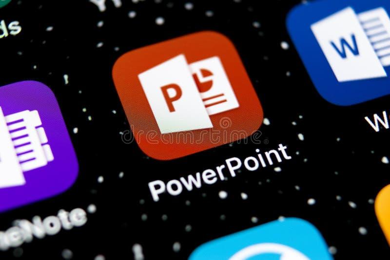 Microsoft-de toepassingspictogram van bureaupower point op Apple-iPhone X het schermclose-up Het pictogram van PowerPoint app App stock fotografie