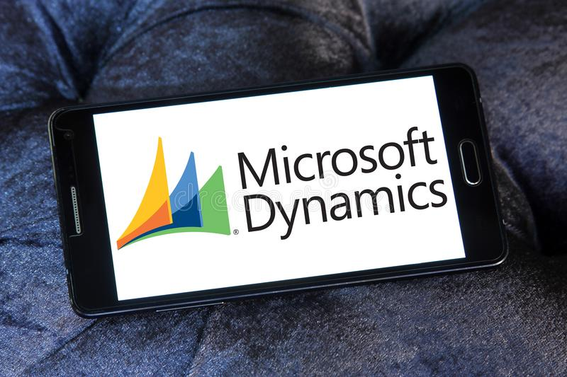 Microsoft Dynamics logo. Logo of Microsoft Dynamics on samsung mobile. Microsoft Dynamics is a line of enterprise resource planning ERP and customer relationship royalty free stock photo