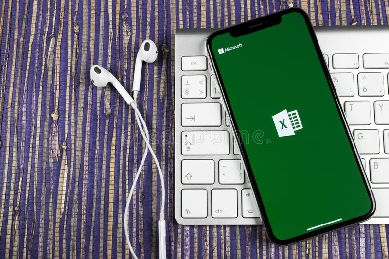 Microsoft Excel application icon on Apple iPhone X screen close-up. Microsoft office Excel app icon. Microsoft office on mobile ph. Sankt-Petersburg, February 10 stock images
