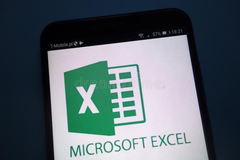 Microsoft Excel-embleem op smartphone stock afbeelding