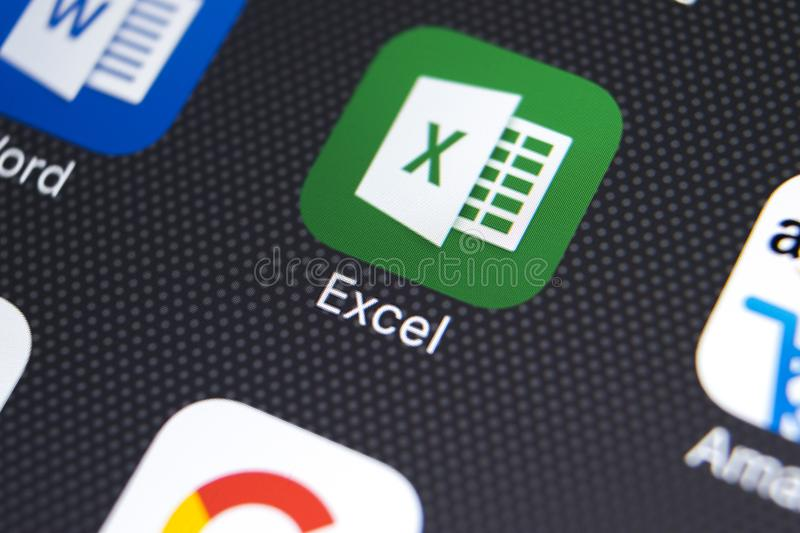 Microsoft Exel application icon on Apple iPhone X screen close-up. Microsoft Exel app icon. Microsoft office on mobile phone. royalty free stock photo