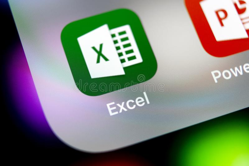 Microsoft Exel application icon on Apple iPhone X screen close-up. Microsoft office Exel app icon. Microsoft office on mobile phon stock image
