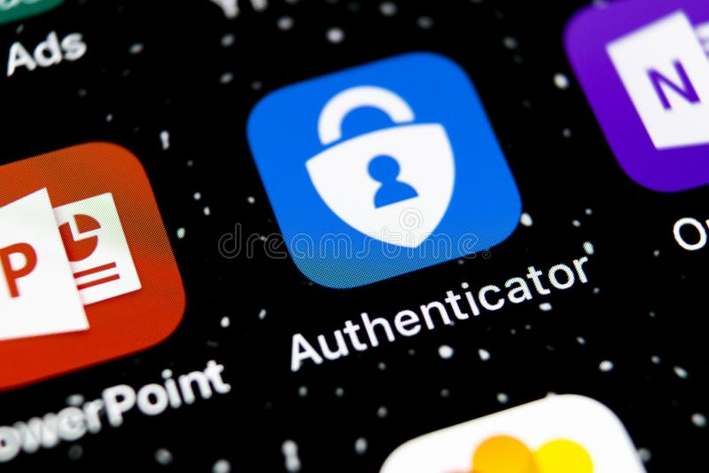Microsoft-het pictogram van de authenticatortoepassing op Apple-iPhone X het close-up van het smartphonescherm Het pictogram van  royalty-vrije stock fotografie