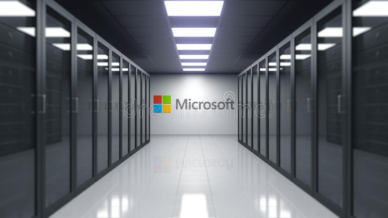 Microsoft logo on the wall of the server room. Editorial 3D rendering vector illustration