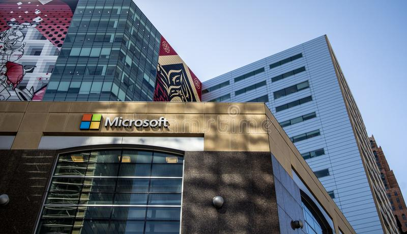 Microsoft Office die Detroit Van de binnenstad Michigan inbouwen stock afbeeldingen