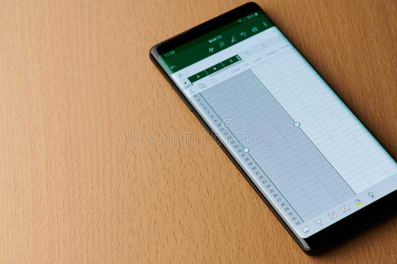 Microsoft office excel grid. New york, USA - march 6, 2019: Microsoft office excel grid on smartphone screen laying on wooden desk stock photo