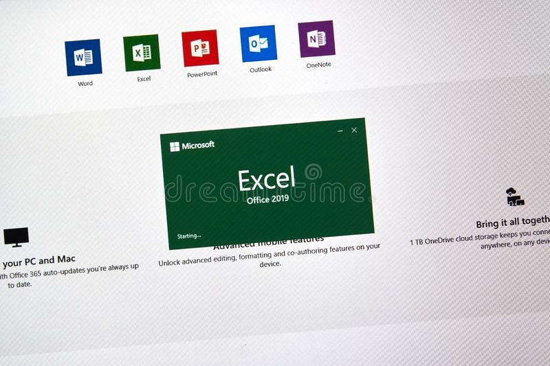MIcrosoft Office Excel. MONTREAL, CANADA - JANUARY 10, 2019: MIcrosoft Office 2019 Excel. Microsoft Office 2019 is the new version of Microsoft Office, a stock image