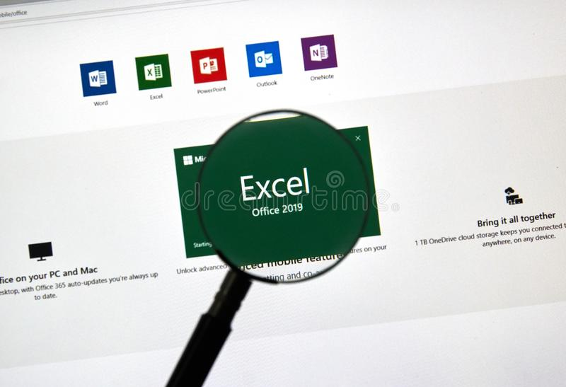 MIcrosoft Office Excel. MONTREAL, CANADA - JANUARY 10, 2019: MIcrosoft Office 2019 Excel. Microsoft Office 2019 is the new version of Microsoft Office, a royalty free stock photos