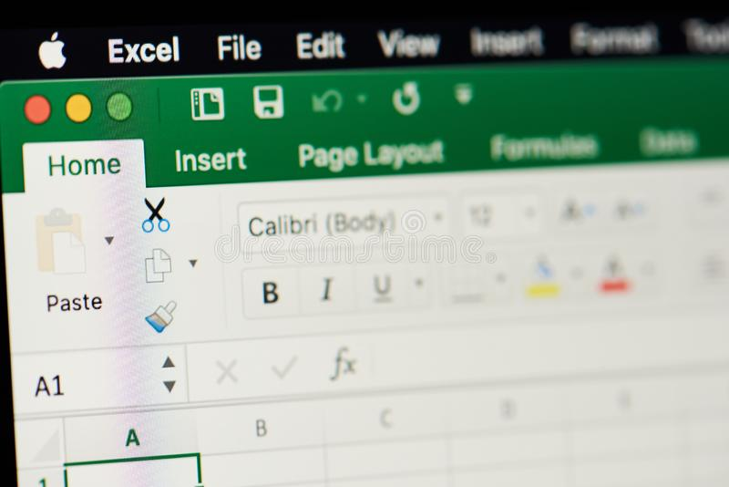 MIcrosoft office excel spreadsheet. New york, USA - november 15, 2018:MIcrosoft office excel spreadsheet on device screen pixelated close up view royalty free stock photo