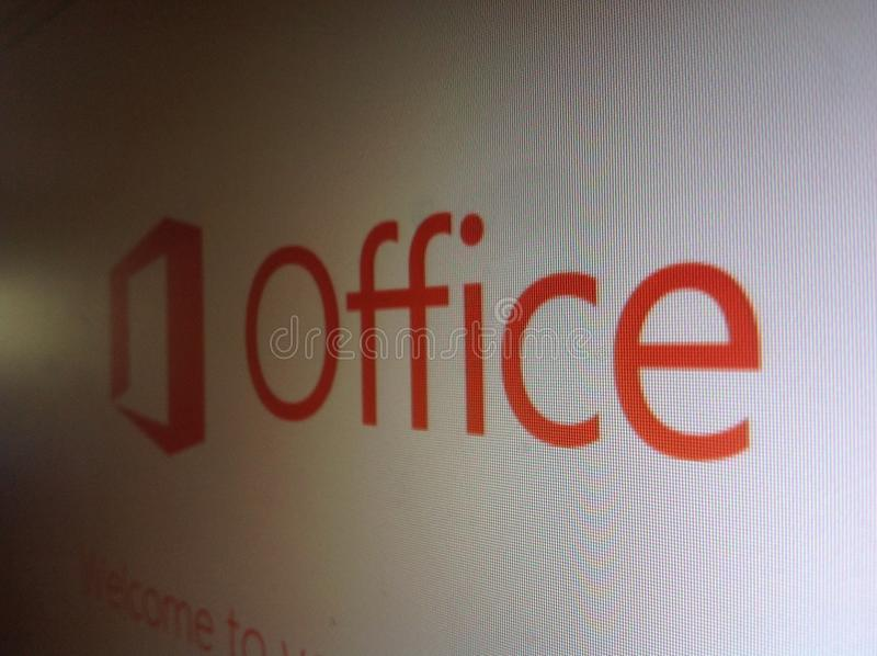 Microsoft Office Name and Logo on Computer Screen stock image