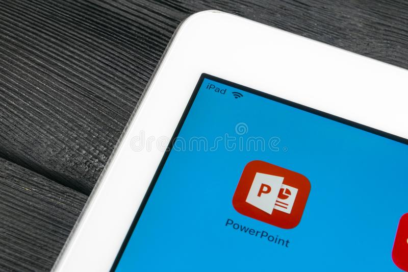 Microsoft office Powerpoint application icon on Apple iPad Pro screen close-up. PowerPoint app icon. Microsoft Power Point applica. Sankt-Petersburg, Russia royalty free stock photos