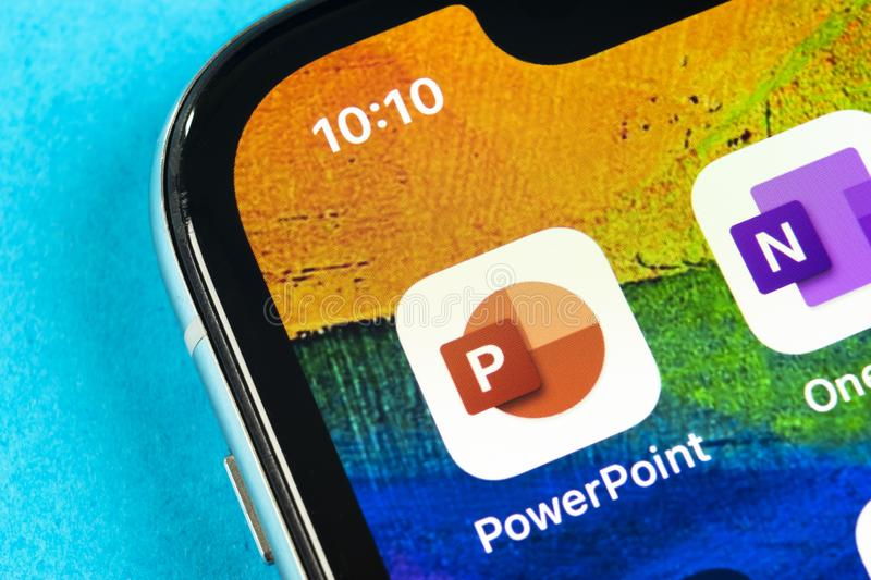 Microsoft office Powerpoint application icon on Apple iPhone X screen close-up. PowerPoint app icon. Microsoft Power Point applica. Helsinki, Finland, May 4 stock photography