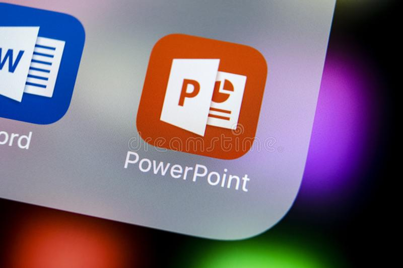 Microsoft office Powerpoint application icon on Apple iPhone X screen close-up. PowerPoint app icon. Microsoft Power Point applica. Sankt-Petersburg, Russia royalty free stock images