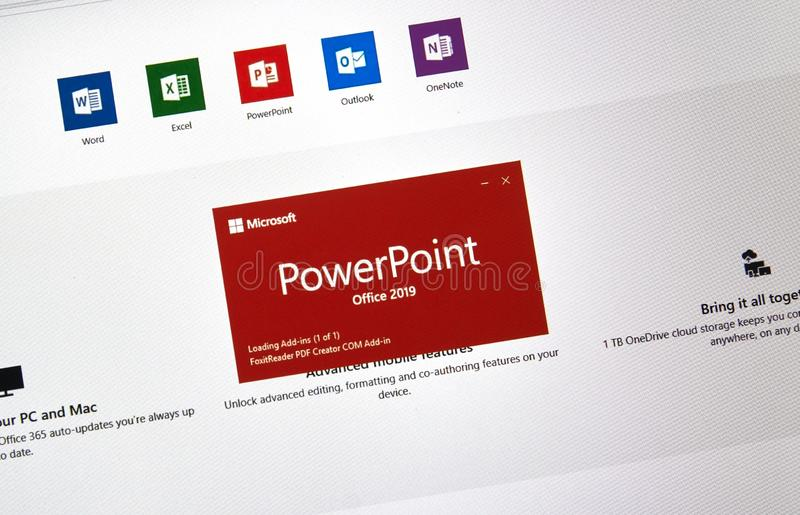 MIcrosoft Office PowerPoint. MONTREAL, CANADA - JANUARY 10, 2019: MIcrosoft PowerPoint 2019. Microsoft Office 2019 is the new version of Microsoft Office, a stock photography