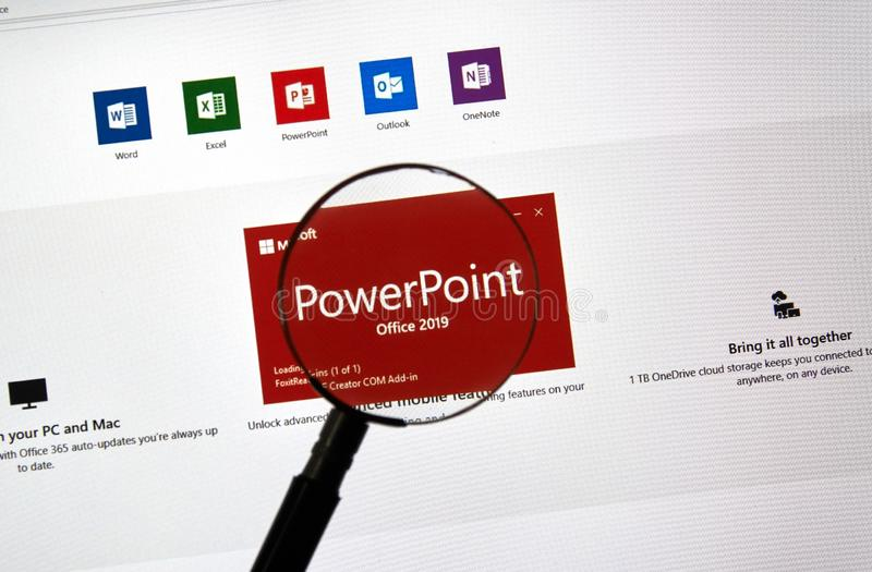 MIcrosoft Office PowerPoint. MONTREAL, CANADA - JANUARY 10, 2019: MIcrosoft PowerPoint 2019. Microsoft Office 2019 is the new version of Microsoft Office, a stock photo