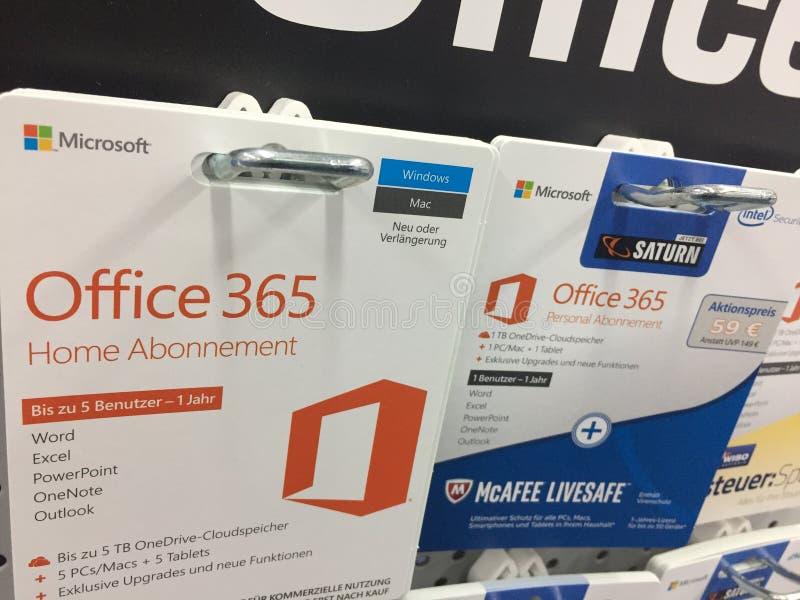 Microsoft Office 365 tarjetas caseras de la suscripción imágenes de archivo libres de regalías