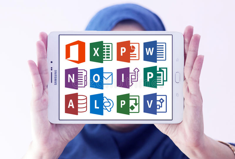 Microsoft office word, excel, powerpoint. Icons and vectors of microsoft office programs like word, excel, powerpoint, outlook, one note, access, publisher stock images