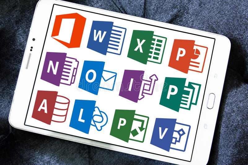 Microsoft office word, excel, powerpoint. Icons and vectors of microsoft office programs like word, excel, powerpoint, outlook, one note, access, publisher stock photo