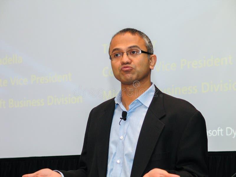 Microsoft-Ondervoorzitter van Bedrijfsoplossingen Satya Nadella royalty-vrije stock fotografie