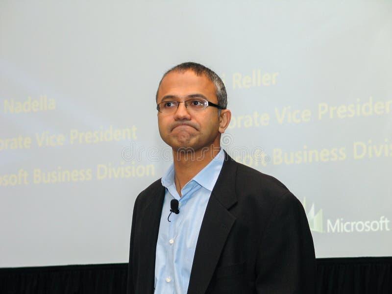 Microsoft-Ondervoorzitter van Bedrijfsoplossingen Satya Nadella stock foto