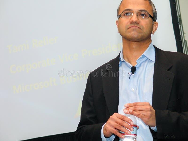 Microsoft-Ondervoorzitter van Bedrijfsoplossingen Satya Nadella stock fotografie