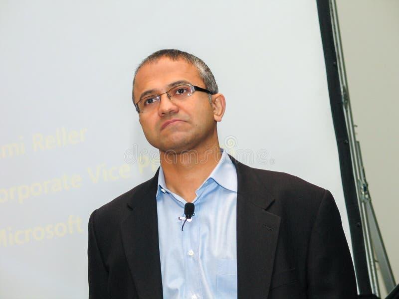 Microsoft-Ondervoorzitter van Bedrijfsoplossingen Satya Nadella stock foto's