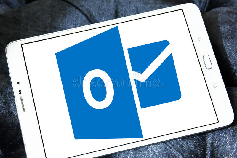 Microsoft outlook logo. Logo of Microsoft outlook program on samsung tablet stock images