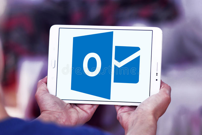 Microsoft outlook logo. Logo of Microsoft outlook program on samsung tablet stock photography