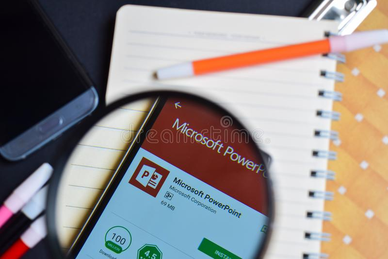 Microsoft PowerPoint App on Smartphone screen. BEKASI, WEST JAVA, INDONESIA. AUGUST 14, 2018 : Microsoft PowerPoint App on Smartphone screen. Microsoft royalty free stock photos