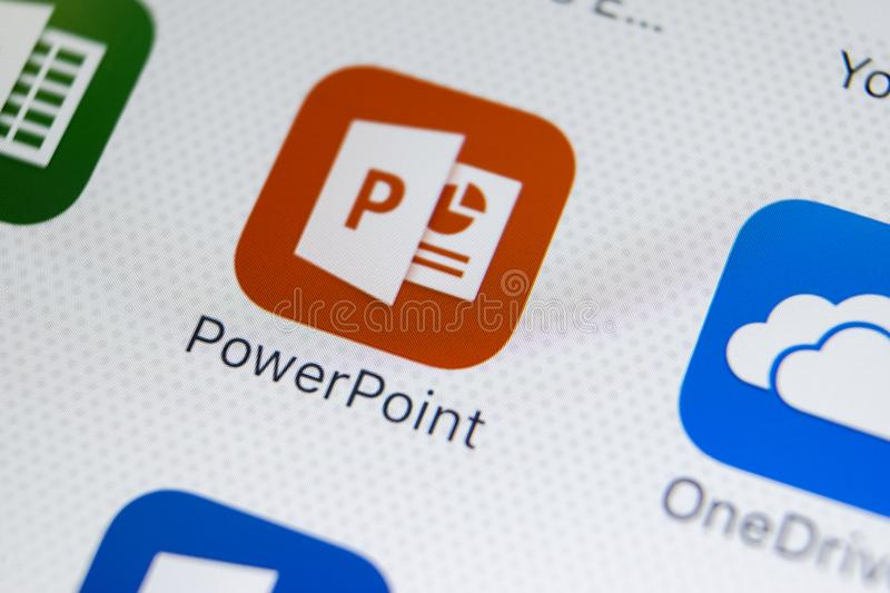 Microsoft Powerpoint application icon on Apple iPhone X screen close-up. PowerPoint app icon. Microsoft Power Point application. Sankt-Petersburg, Russia stock photos