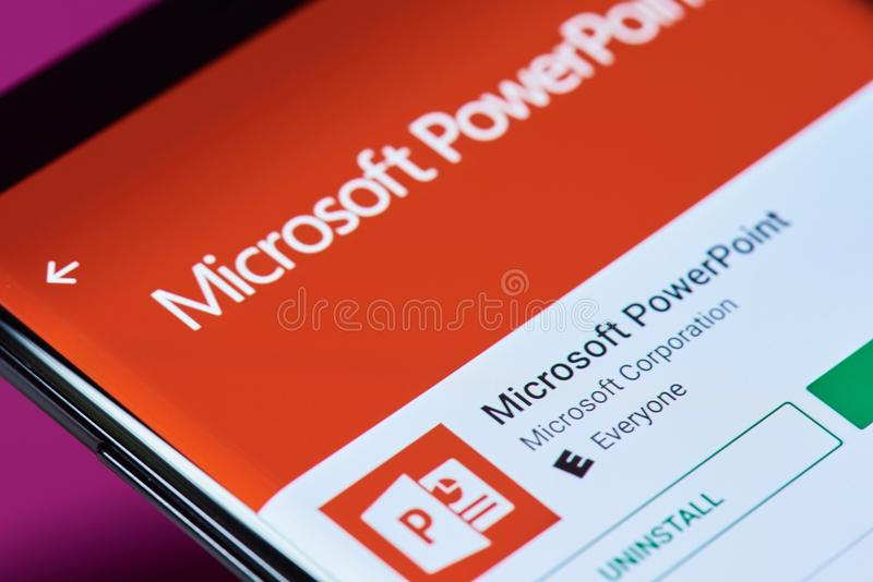 Microsoft powerpoint application. New york, USA - June 10, 2018: Microsoft powerpoint application on android smartphone screen close up view stock photography