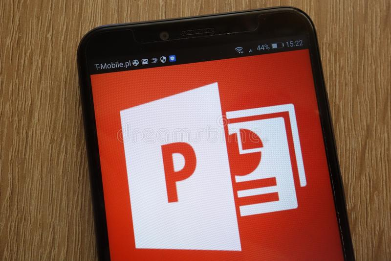 Microsoft PowerPoint logo displayed on a modern smartphone. KONSKIE, POLAND - SEPTEMBER 01, 2018: Microsoft PowerPoint logo displayed on a modern smartphone royalty free stock photography