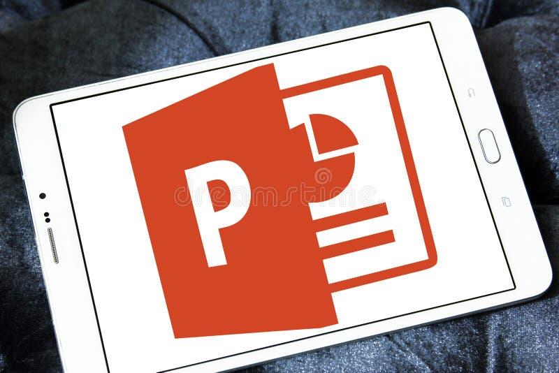 Microsoft powerpoint logo. Logo of microsoft office powerpoint program on samsung tablet stock photos