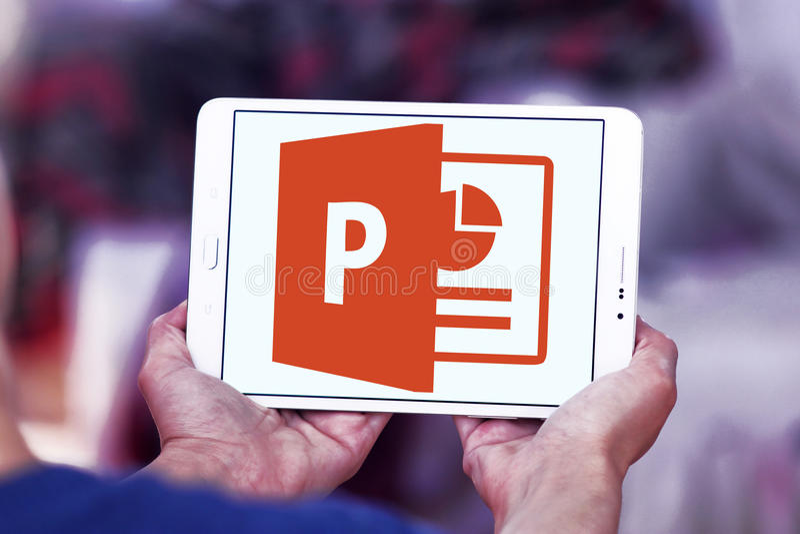 Microsoft powerpoint logo. Logo of microsoft office powerpoint program on samsung tablet royalty free stock photo