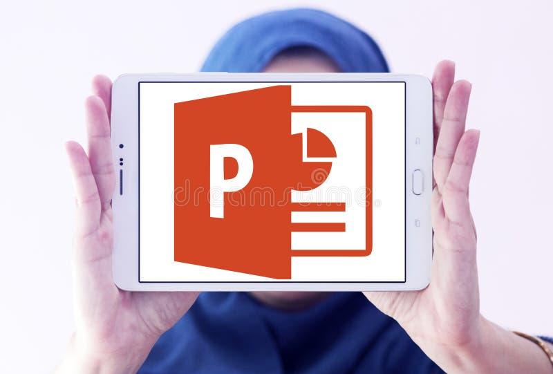 Microsoft powerpoint logo. Logo of microsoft office powerpoint program on samsung tablet holded by arab muslim woman stock photos