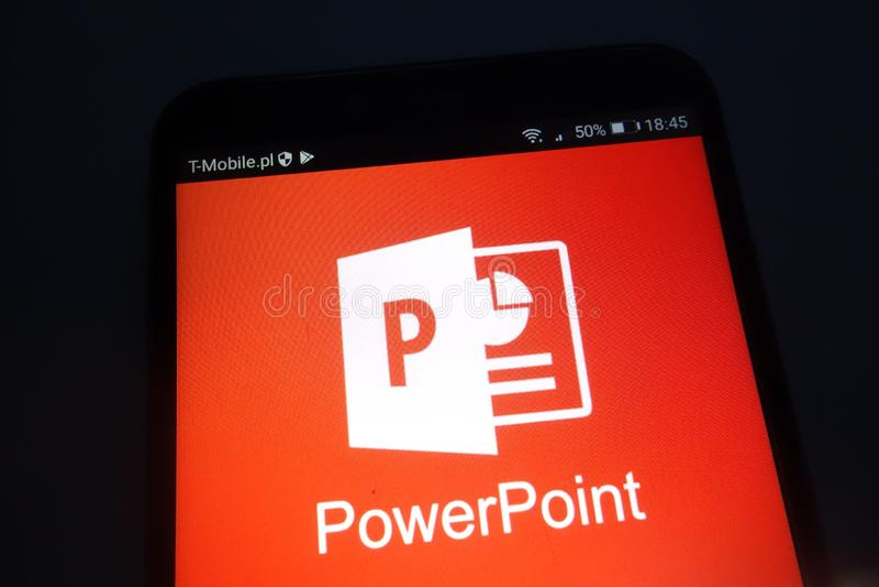 Microsoft PowerPoint logo on smartphone. KONSKIE, POLAND - SEPTEMBER 22, 2018: Microsoft PowerPoint logo on smartphone stock photos