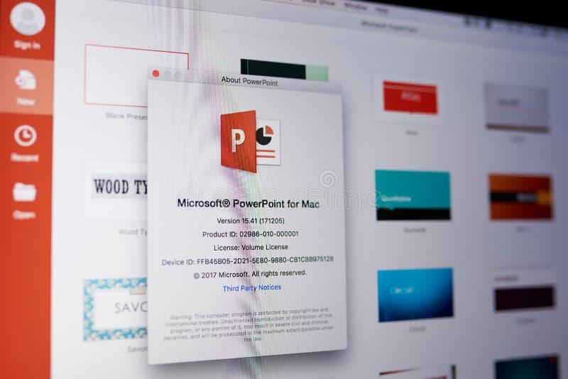 Microsoft powerpoint menu. New york, USA - May 25, 2018: Microsoft powerpoint menu on laptop screen close up royalty free stock images